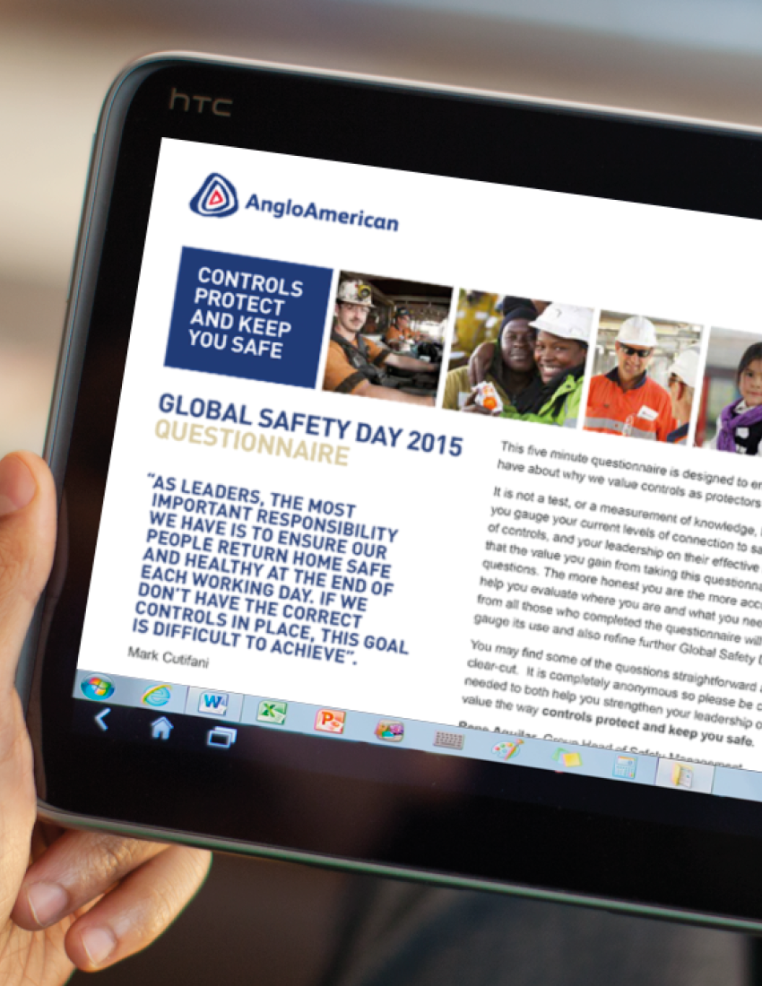 Internal communications employee safety survey for Anglo American